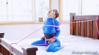 Restricted Senses – Mina – RS-321 – Bed Bound in Blue Catsuit