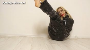 Leather Latex Love – Caught, wrapped, ball gagged and trying to escape