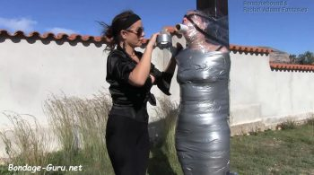 Rachel Adams mummified outdoors – Bondage: JJ Plush, Born to be Bound