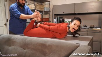 Bondage: JJ Plush, Born to be Bound – Hired to be cuffed and barefoot at his office