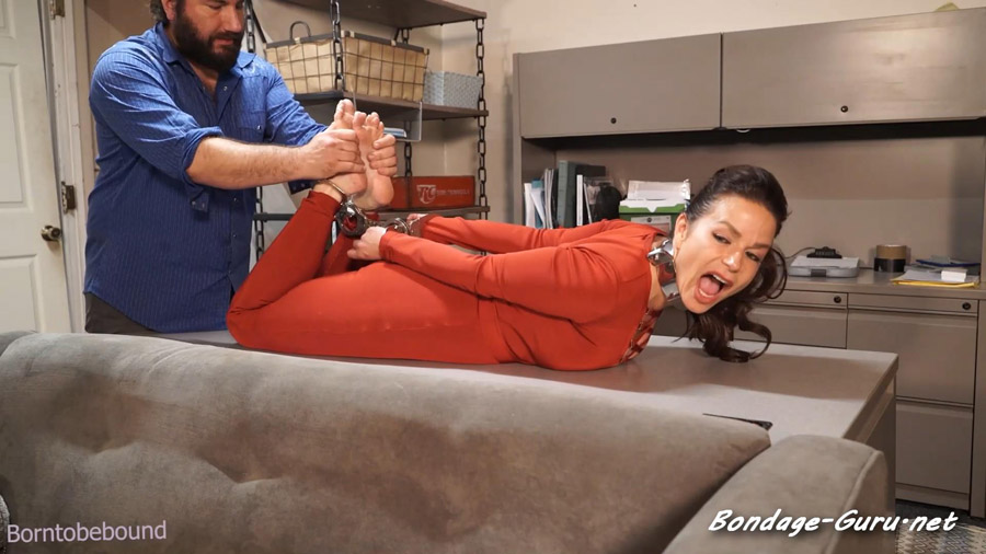 Hired to be cuffed and barefoot at his office