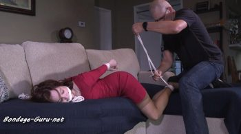 Lady of the house found hogtied on the couch HD – Girl Next Door Bondage