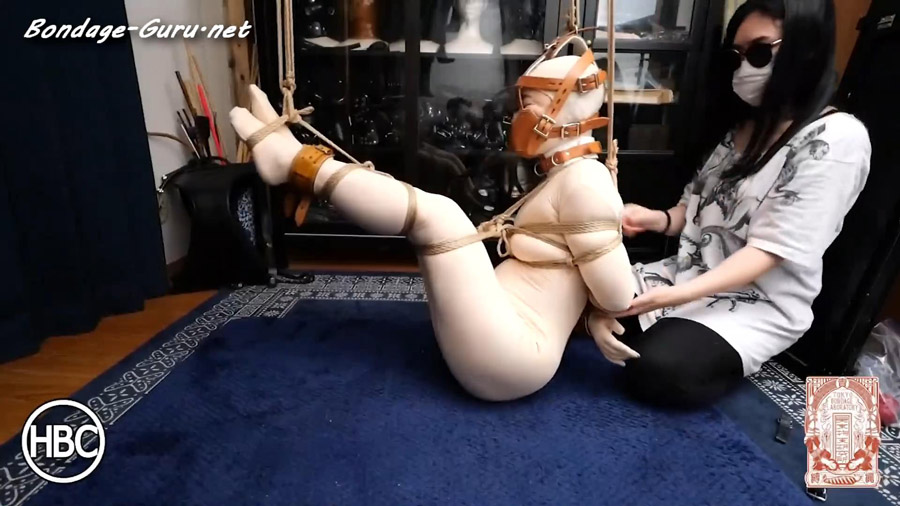 Mistress Chiaki Ties Lady Hinako in Strict Medical Rope Bondage in Zentai Suit