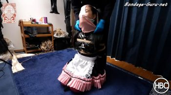 Hinako House of Bondage – PVC Maid Gets Tied in Rope Bondage and Forced to Wear Panties on Her Head with a Nose Hook