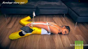Nyxons Bondage Files – Honey Dew Spreader Bar Struggle In Yellow Disco Pants